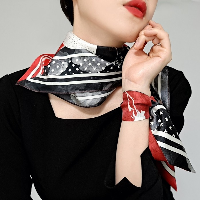 Heart Bandana and Floral Printed Square Silk Twill Red