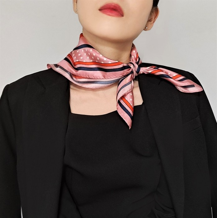 Heart Bandana Printed Square Silk Twill Pink Scarf
