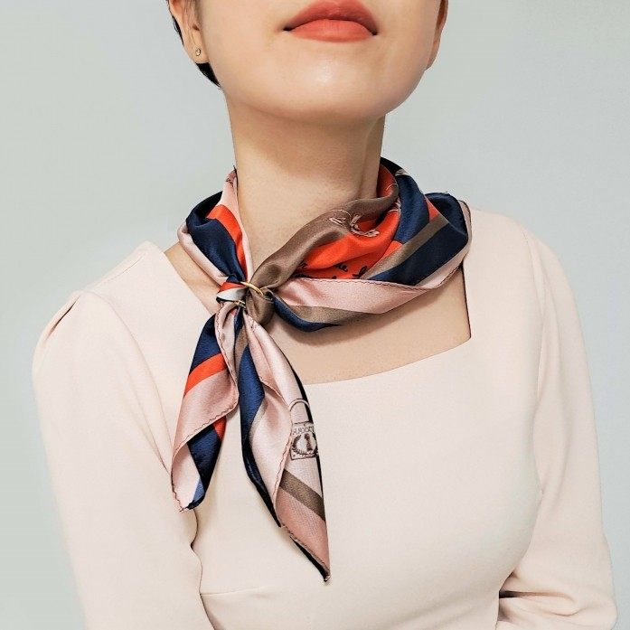 MMXXV design printed Red, Navy silk square scarf