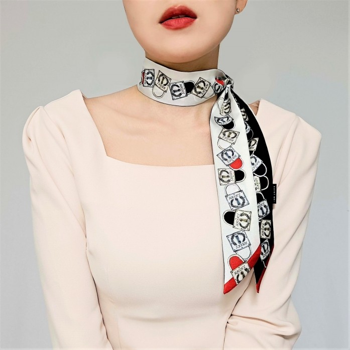 Lucky Lock printed Black, Red, White Silk twilly scarf